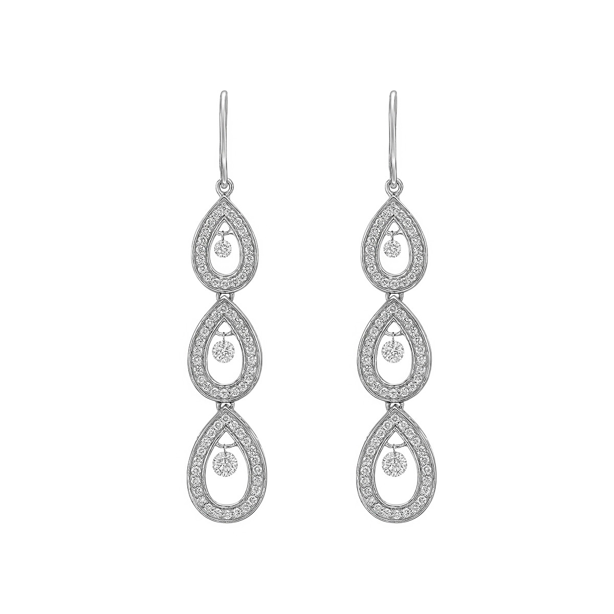 Diamond Pear-Shaped Chain Drop Earrings