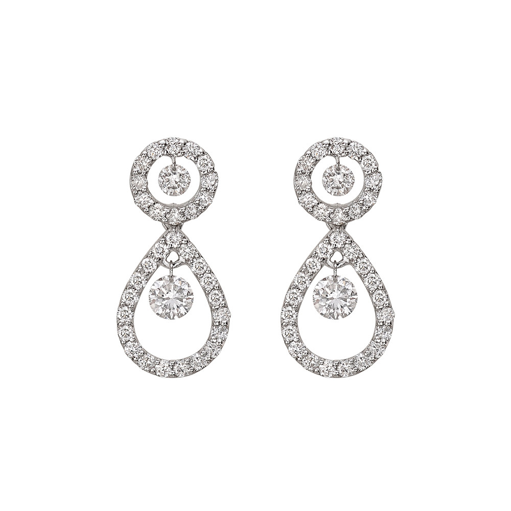 Diamond Pear-Shaped Short Drop Earrings