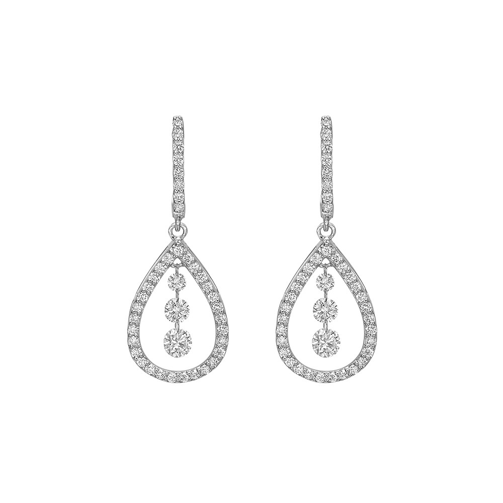 Diamond Pear-Shaped Drop Earrings