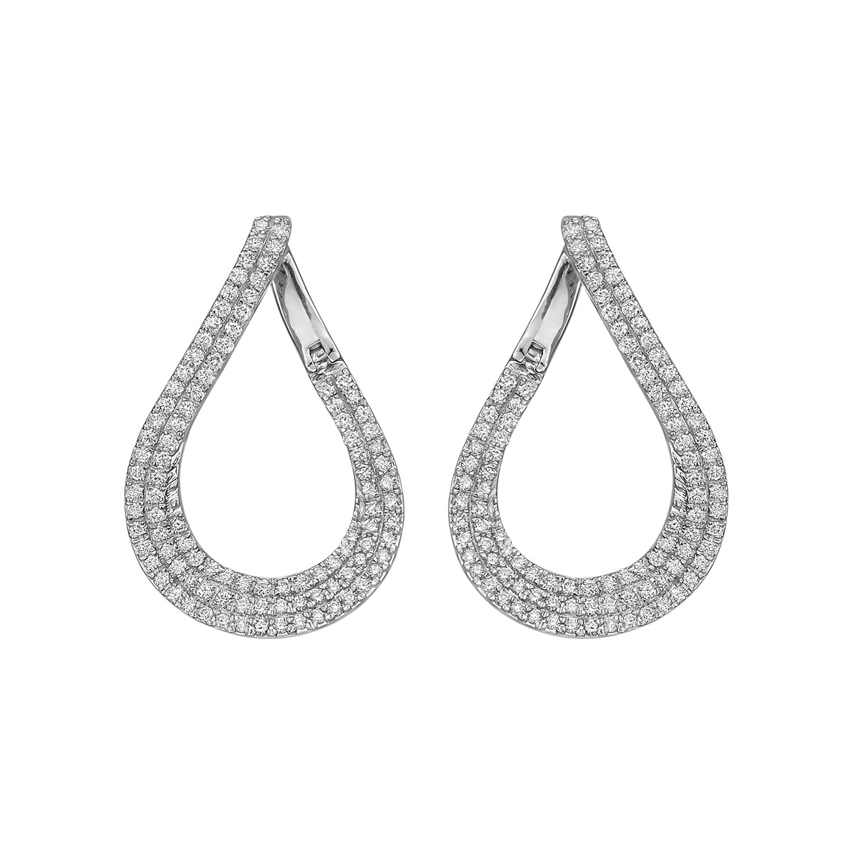 Pavé Diamond Pear-Shaped Hoop Earrings