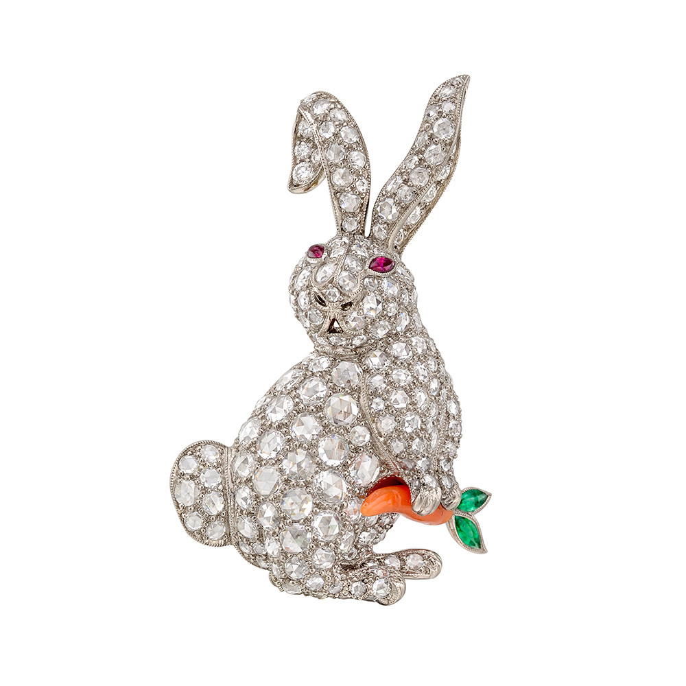 Diamond Rabbit with Coral Carrot Brooch