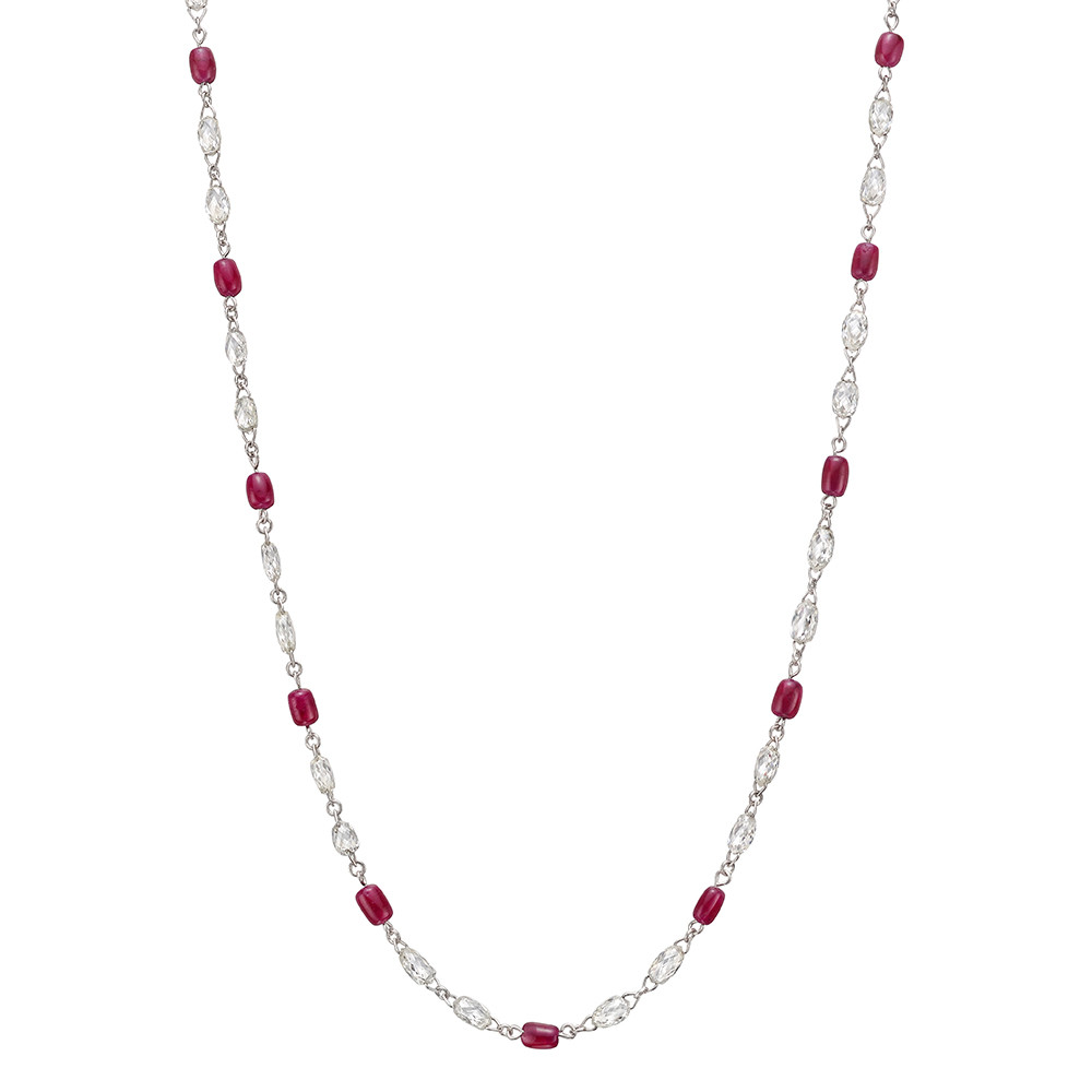 Diamond & Ruby Chain Necklace