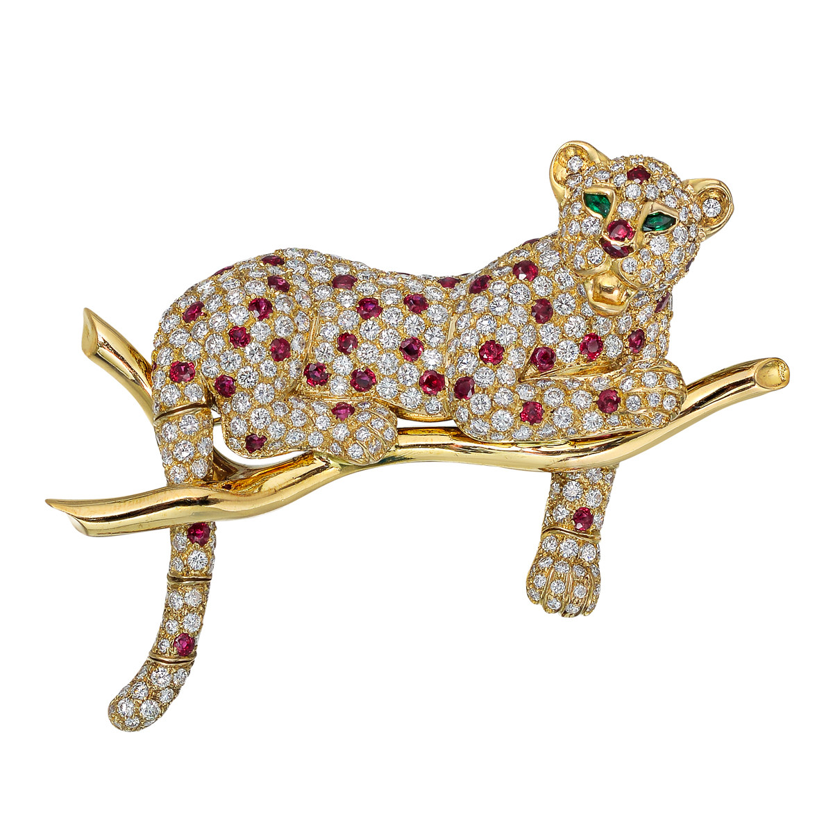 Diamond & Ruby Leopard Brooch
