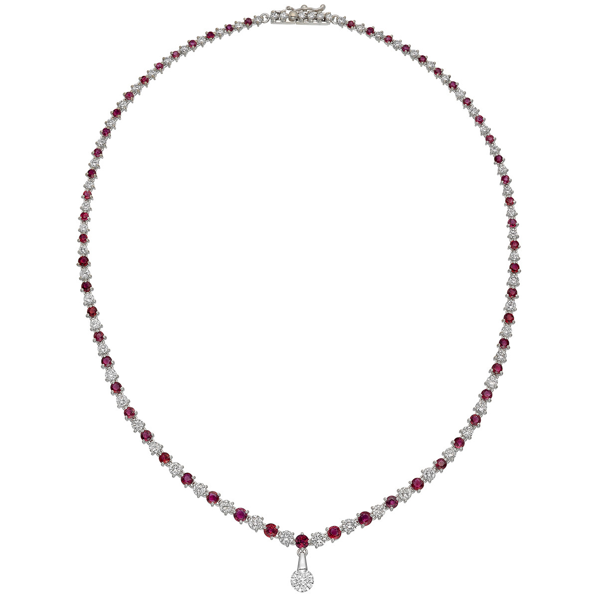 Diamond & Ruby Line Necklace with Diamond Dangle