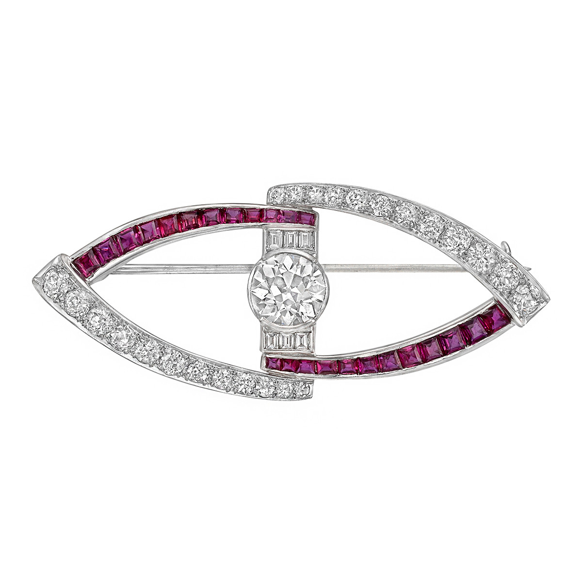Diamond & Ruby Openwork Pin
