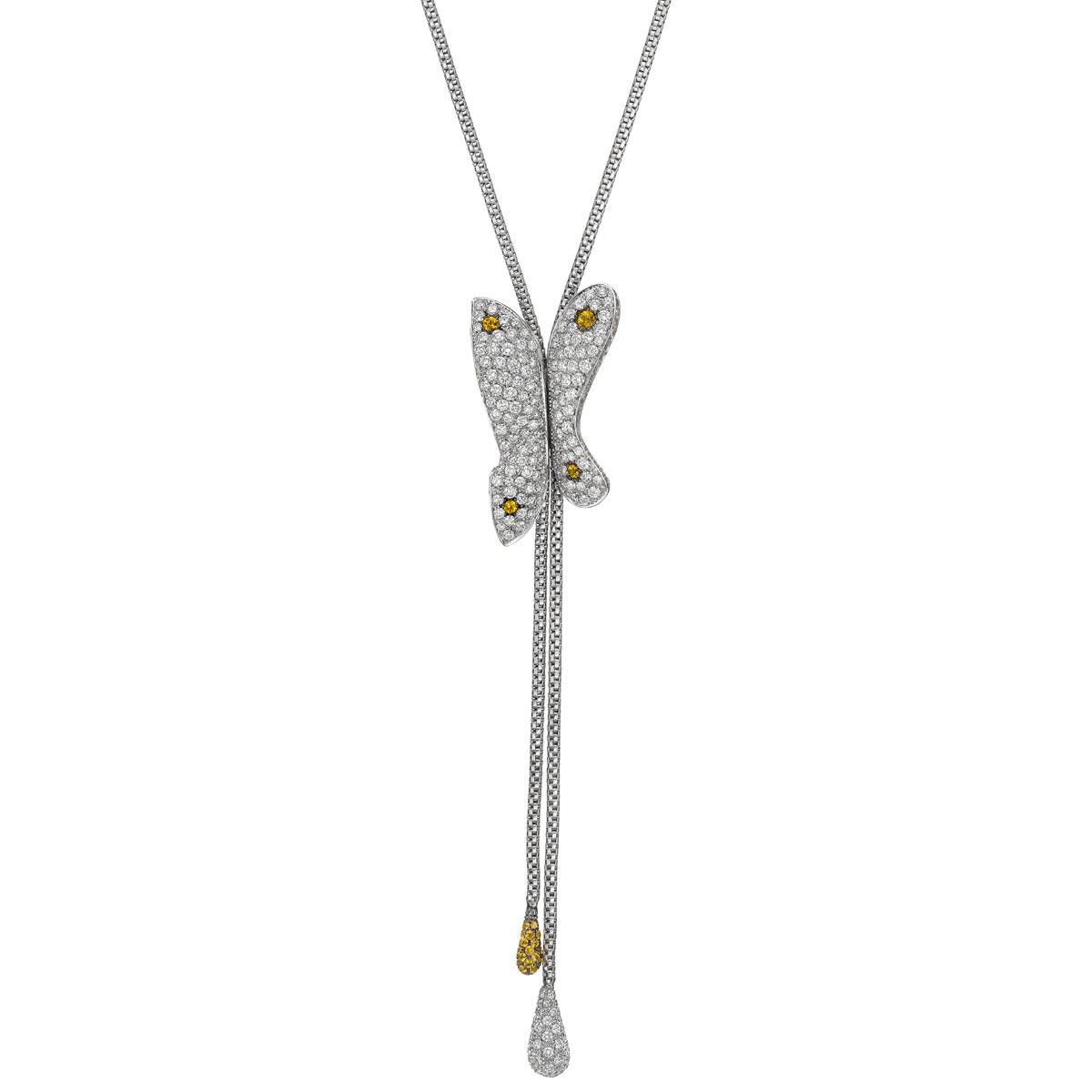 Diamond & Yellow Sapphire Butterfly 'Y' Necklace