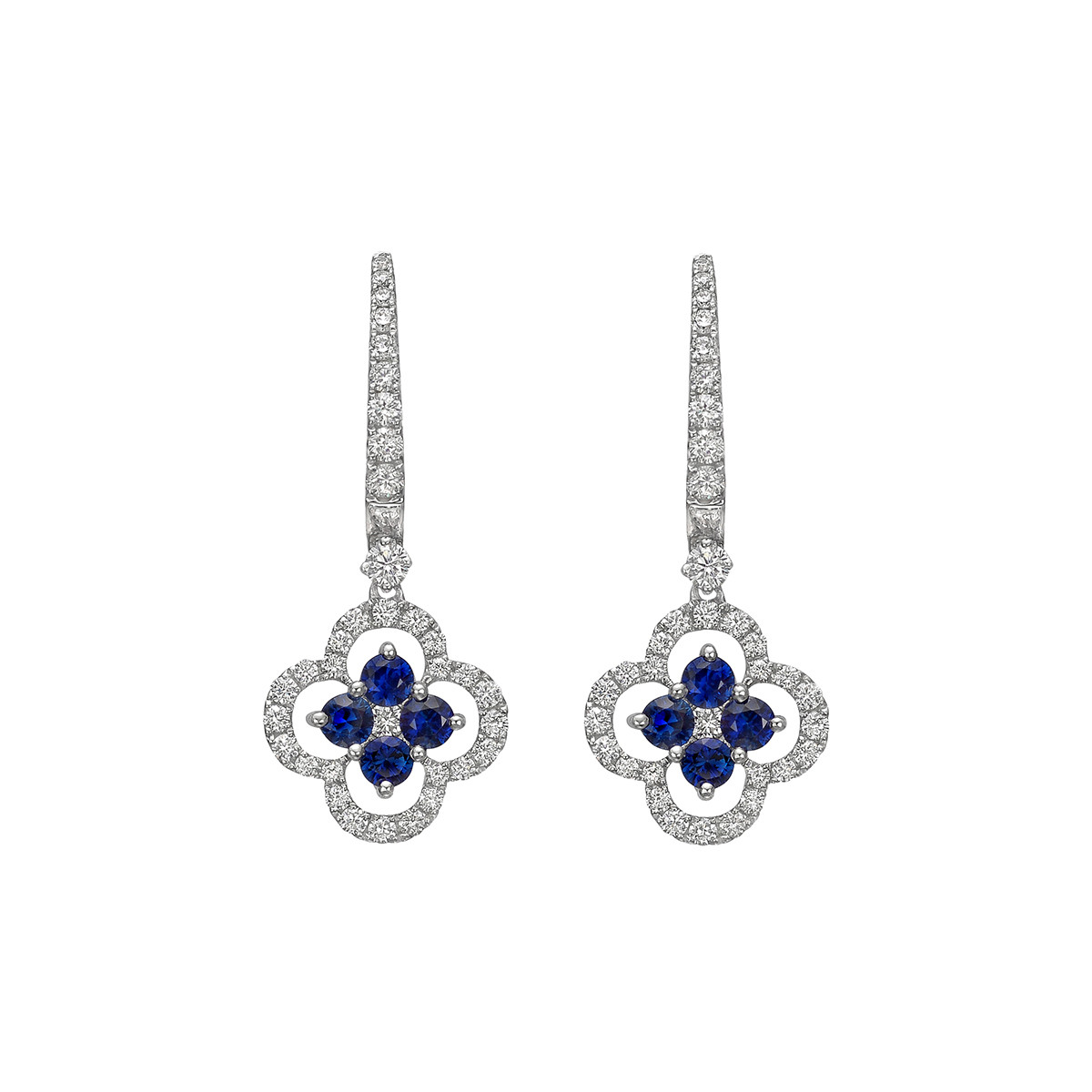 Diamond & Sapphire Clover Drop Earrings
