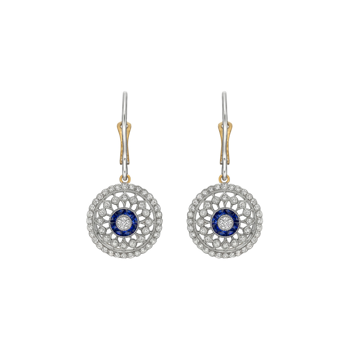 Diamond & Sapphire Cluster Drop Earrings