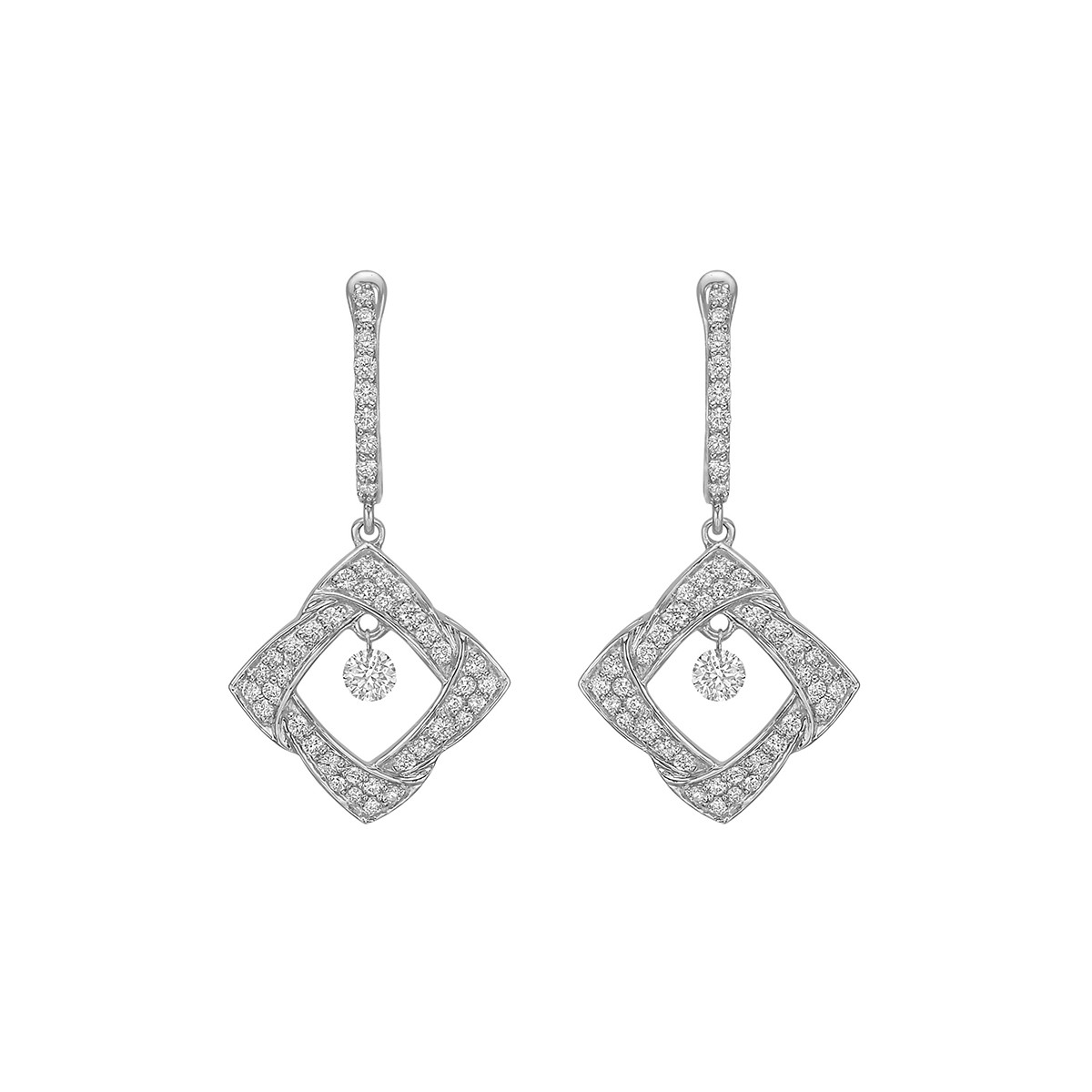 Woven Diamond-Shaped Drop Earrings