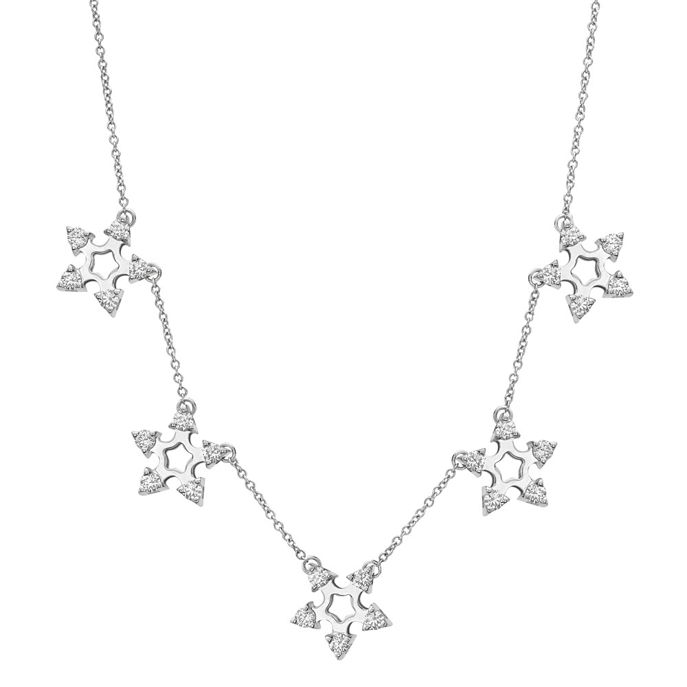 Diamond Snowflake Station Necklace