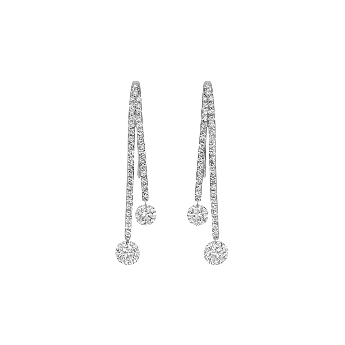 Diamond Split Drop Earrings