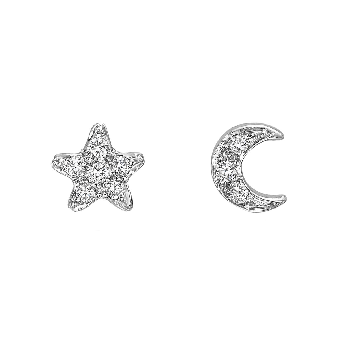 Small 18k White Gold & Diamond Star & Moon Earstuds