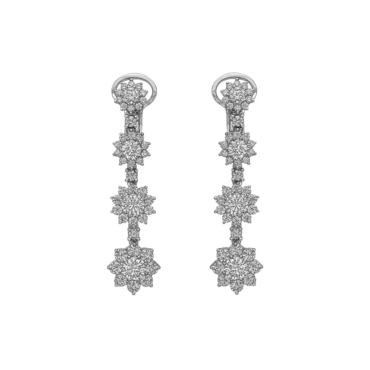 18k White Gold & Diamond Starburst Drop Earrings