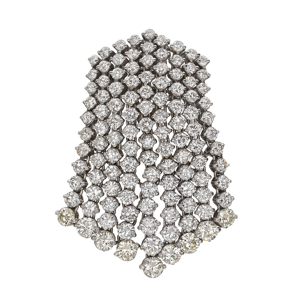 Diamond 'Waterfall' Pendant Brooch