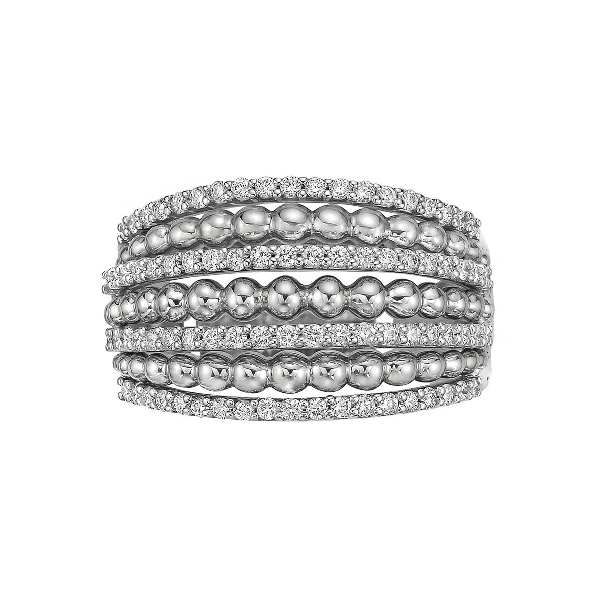 18k White Gold & Diamond 7-Row Ring