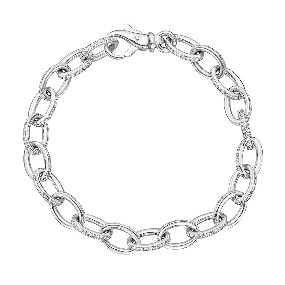18k White Gold Diamond Oval Link Bracelet