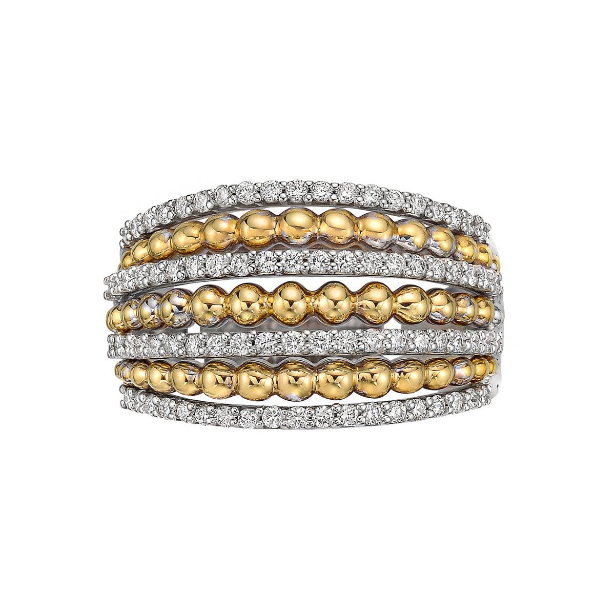 18k White & Yellow Gold Diamond 7-Row Ring