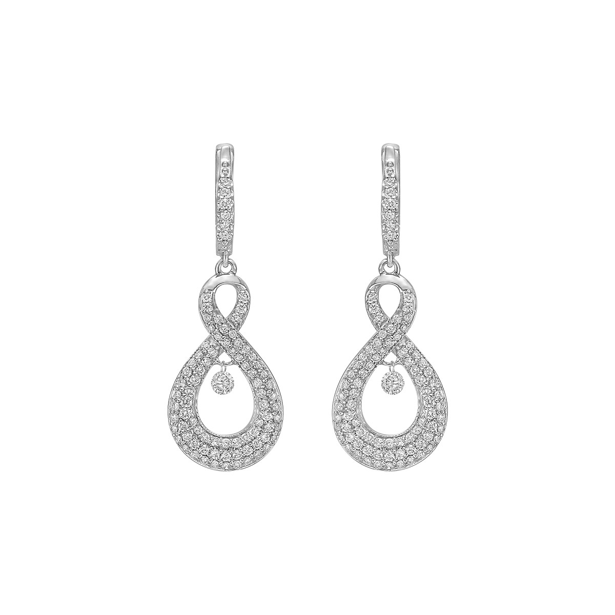 Diamond Wide Figure-8 Drop Earrings