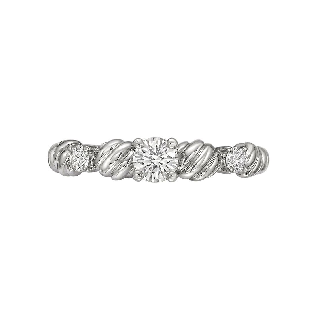 Platinum & Diamond Fluted Band Ring