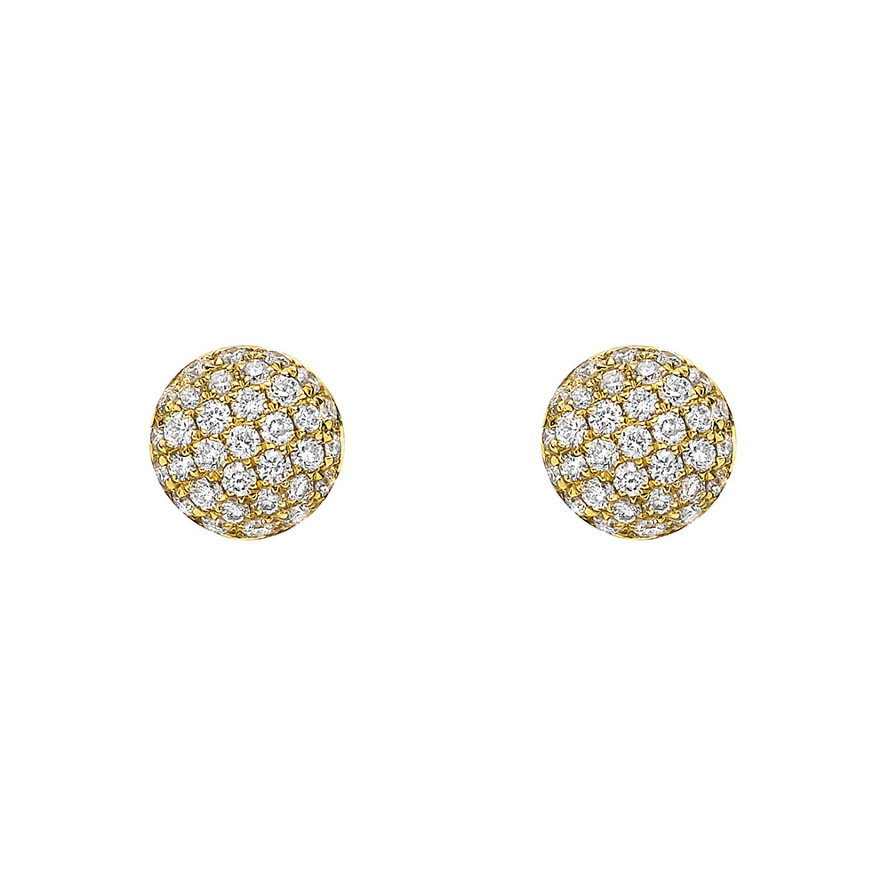 Small 18k Yellow Gold & Pavé Diamond Earstuds