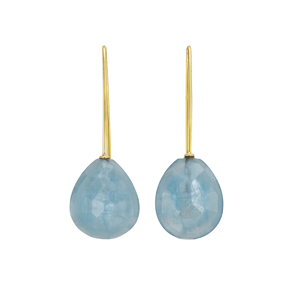 18k Gold & Aquamarine Drop Earrings