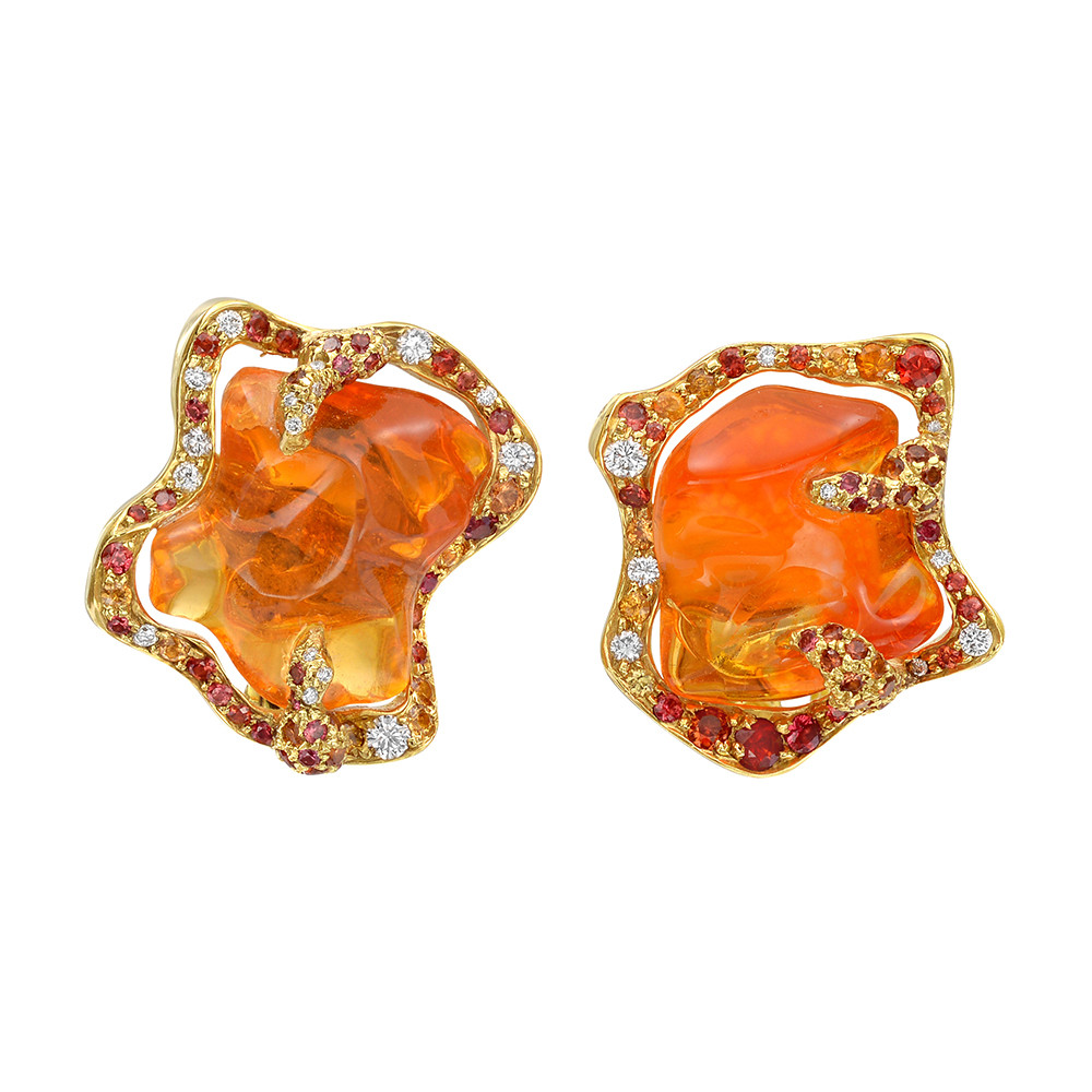 "Fire Opal ""Flame"" Earrings"