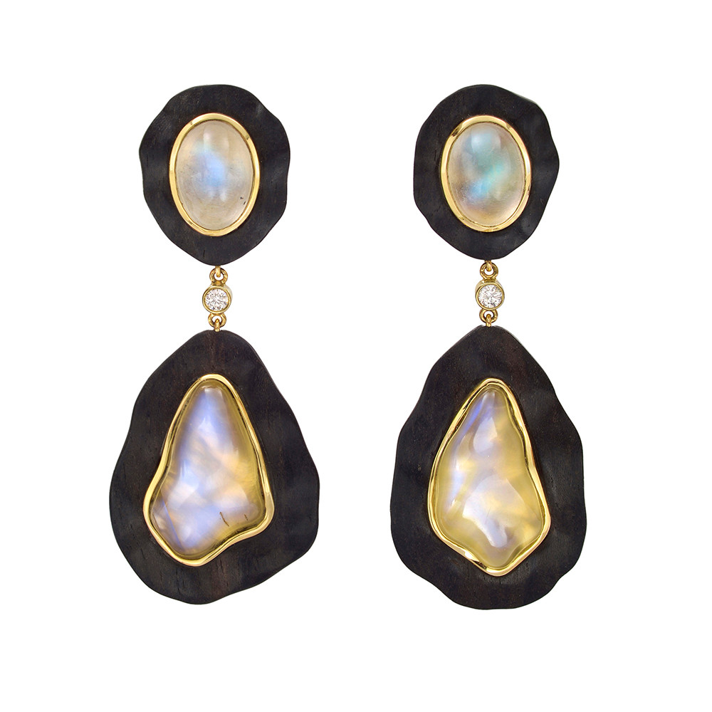 18k Gold, Ebony & Moonstone Pendant Earclips