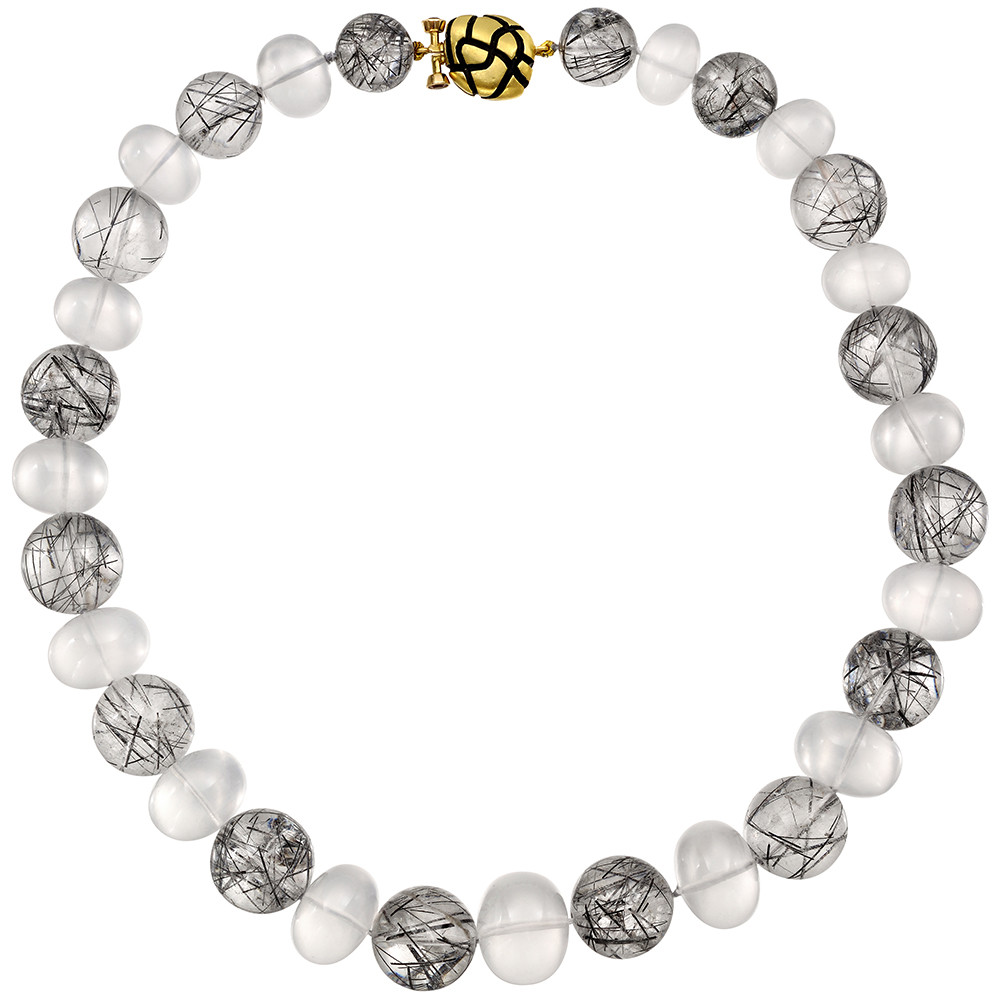 Rutilated Quartz & White Aquamarine Bead Necklace