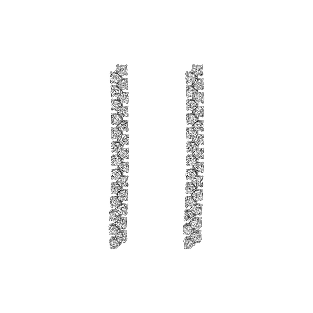 Diamond Double Line Drop Earrings (~2.60ct)
