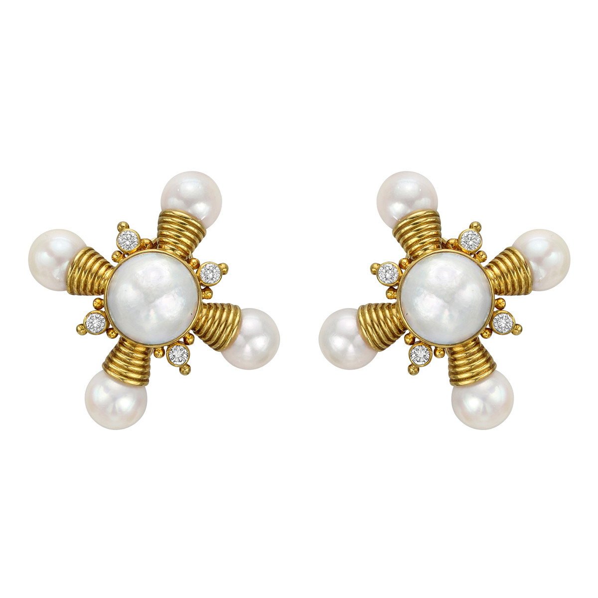 18k Yellow Gold, Pearl & Diamond Earrings
