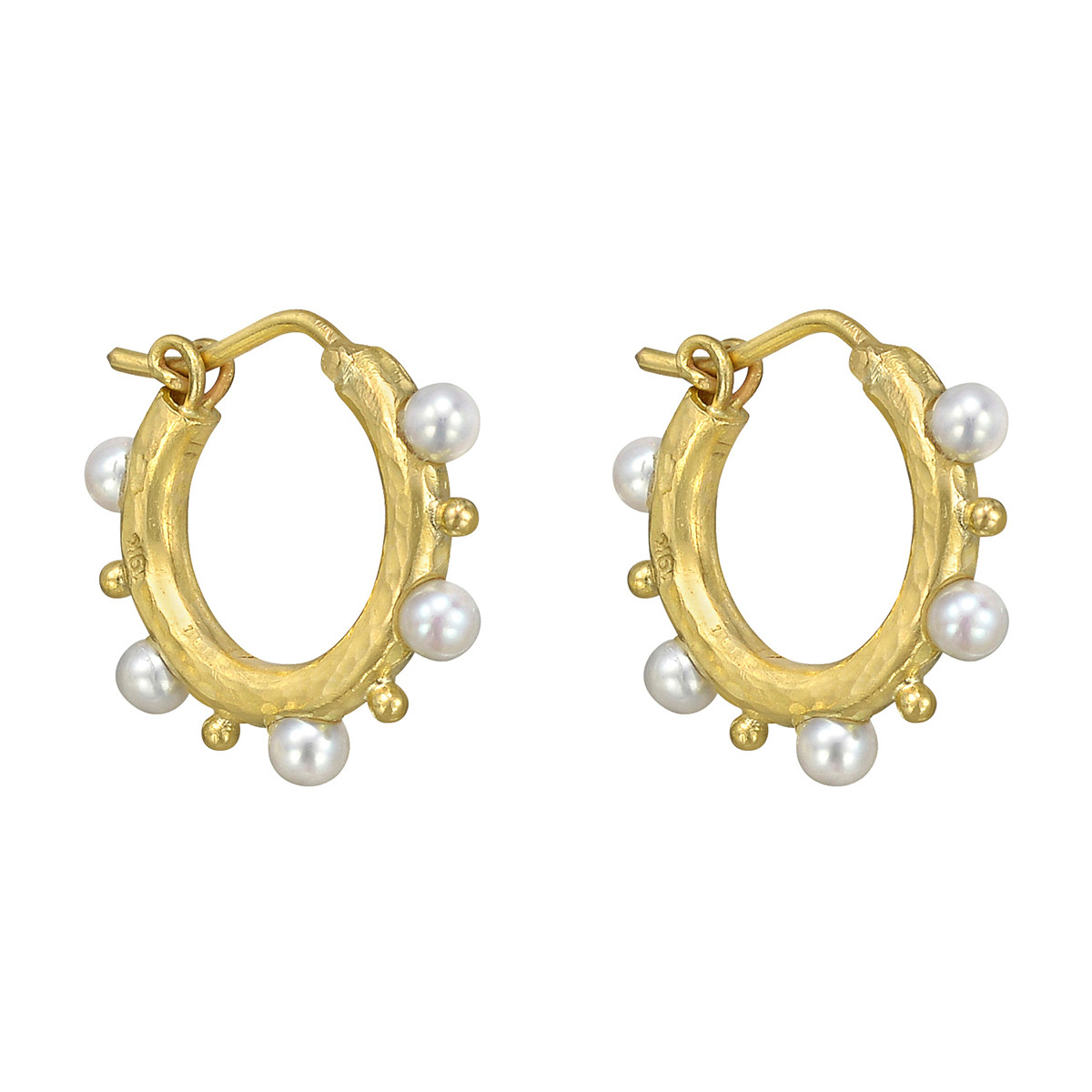 19k Yellow Gold & Pearl Hoop Earrings