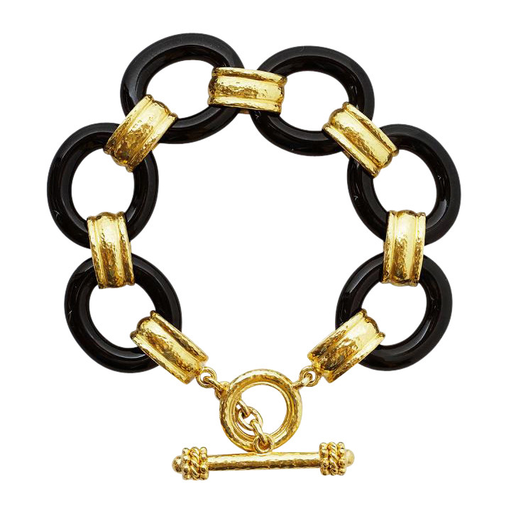 19k Yellow Gold & Black Jade Link Bracelet