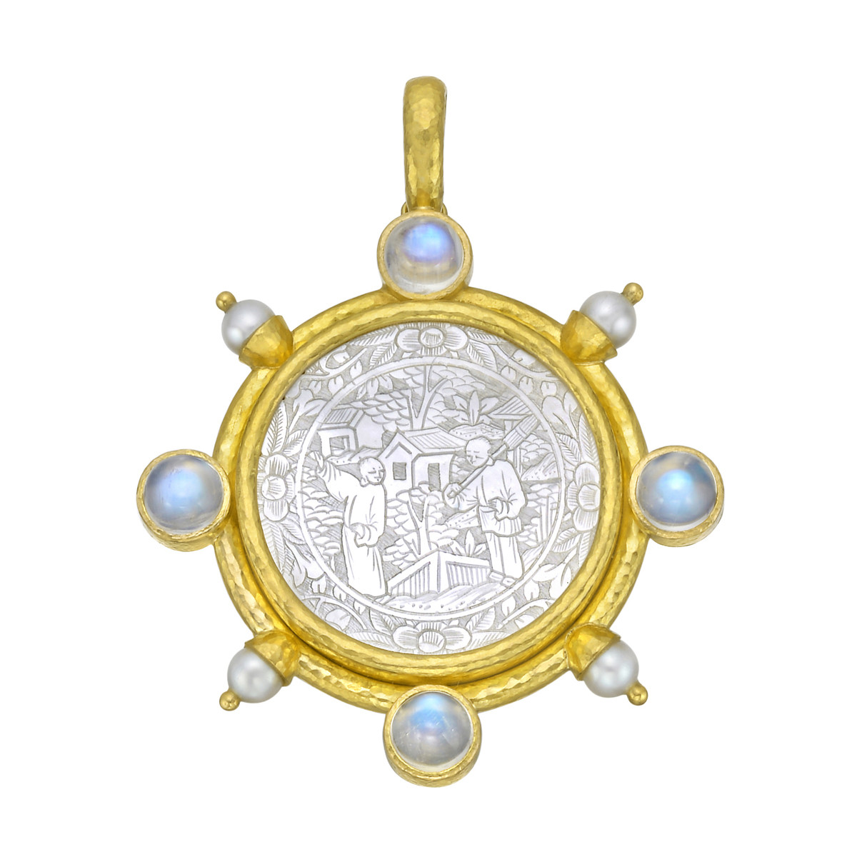 19k Yellow Gold Chinese Gambling Counter Pendant