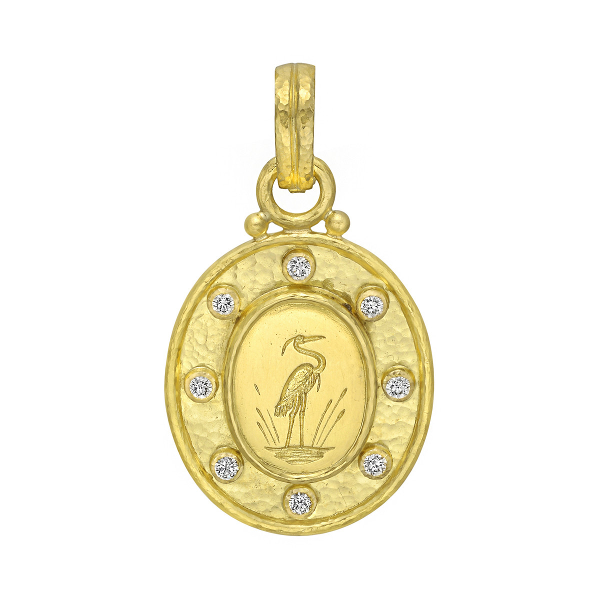 19k Yellow Gold & Diamond Crane Pendant