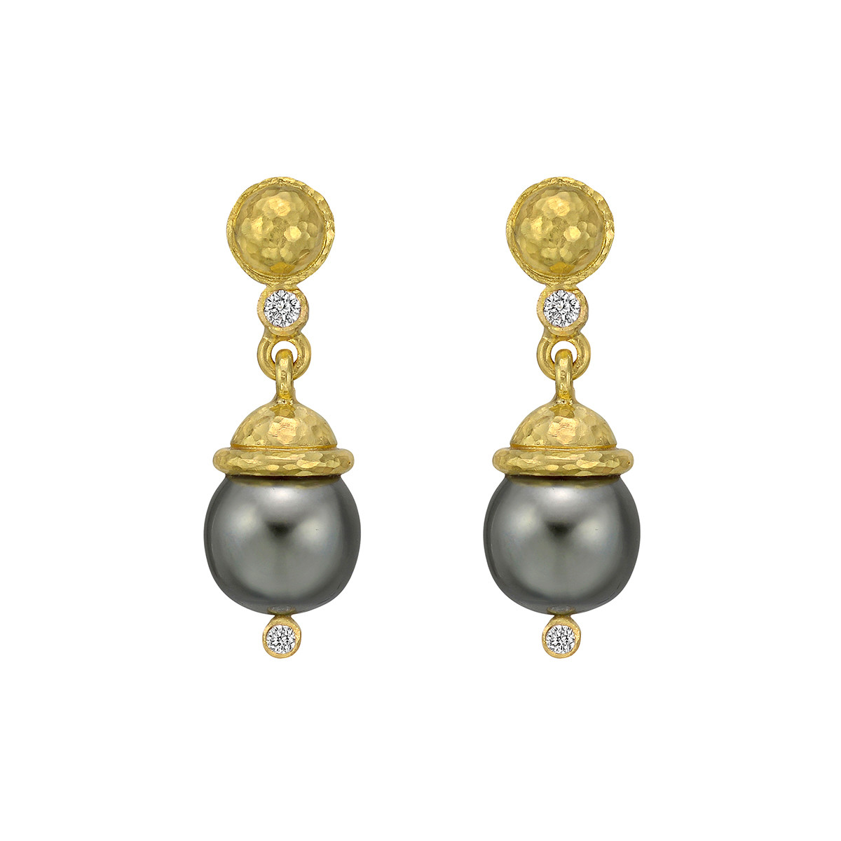 19k Gold, Diamond & Gray Pearl Drop Earrings