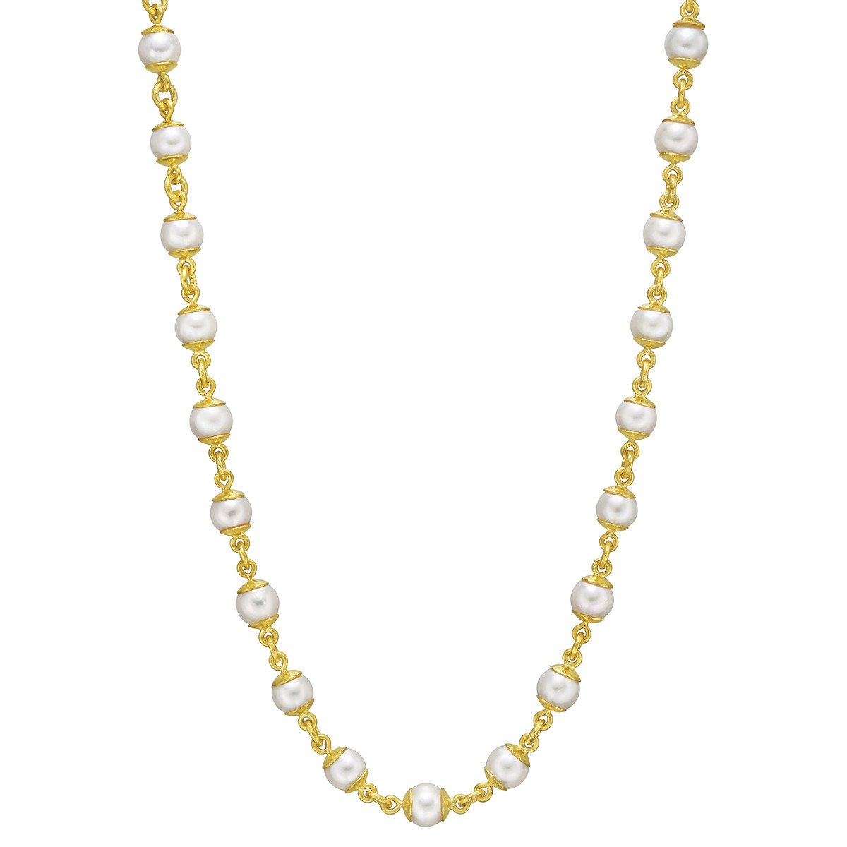 19k Yellow Gold & Akoya Pearl Chain Necklace
