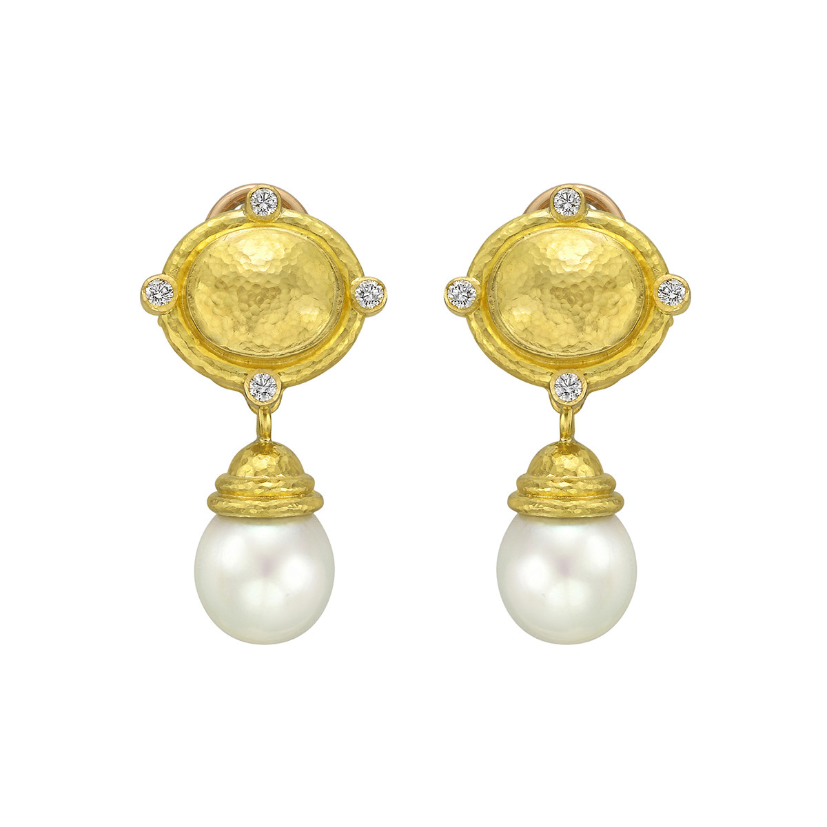 19k Yellow Gold, Diamond & Pearl Drop Earrings