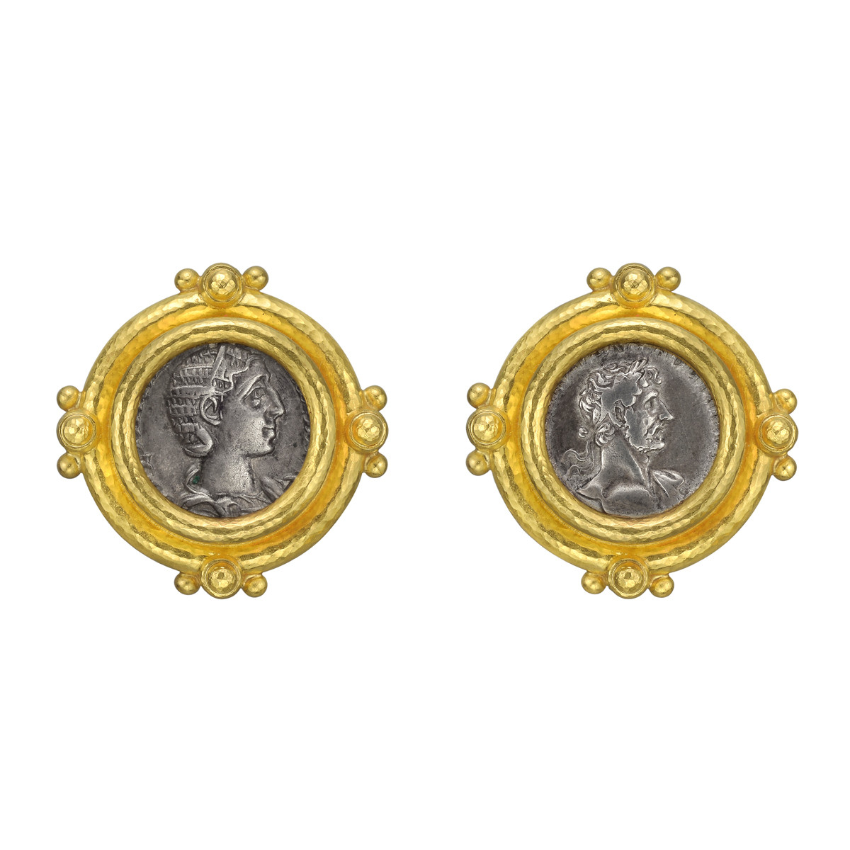 18k Yellow Gold & Silver Coin Earrings