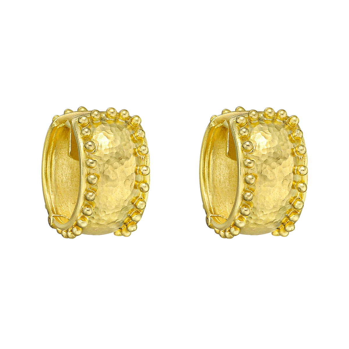 19k Yellow Gold Granulated Hoop Earrings