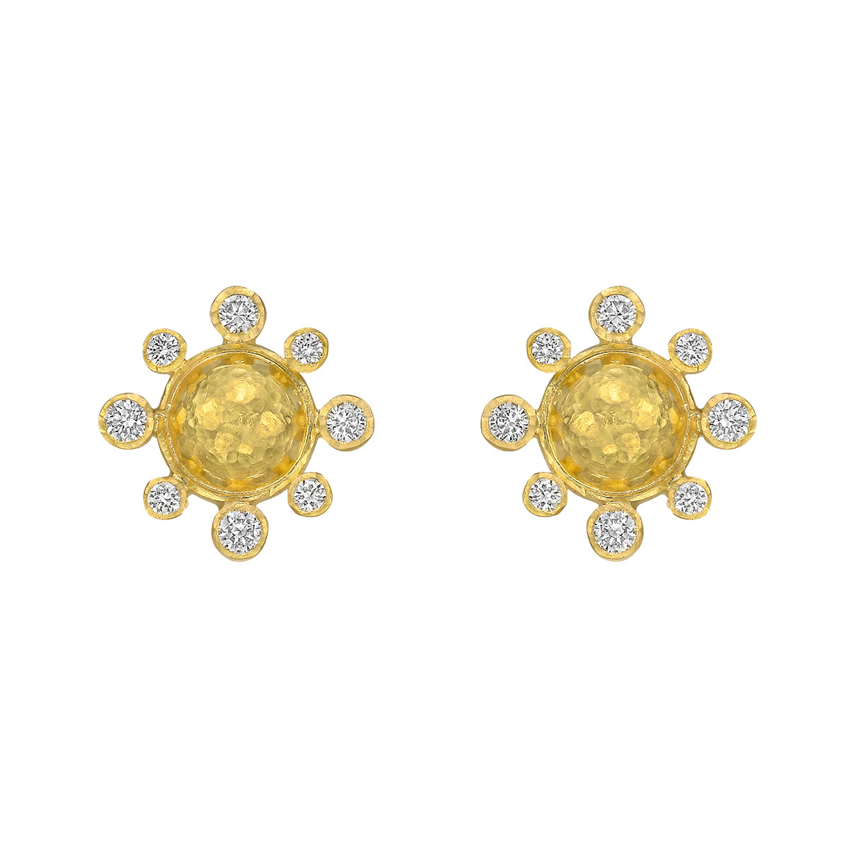 19k Yellow Gold & Diamond Stud Earrings
