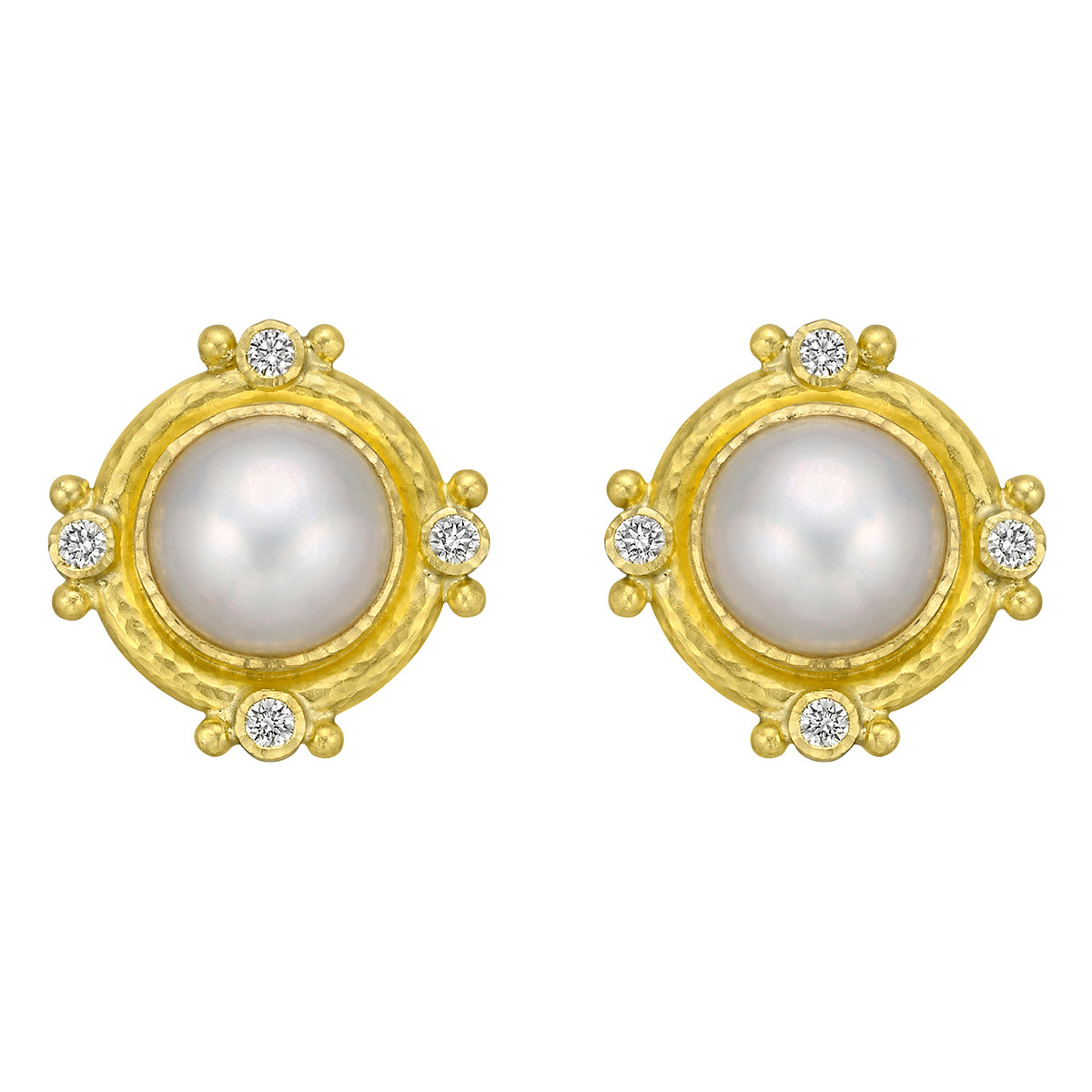 19k Yellow Gold, Mabe Pearl & Diamond Earrings