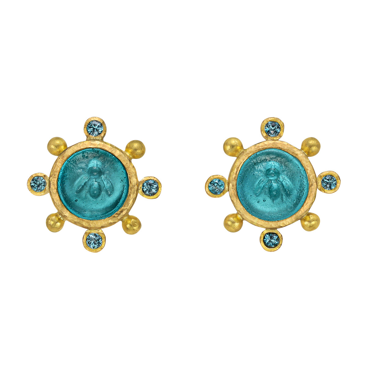 19k Yellow Gold 'Tiny Bee' Intaglio Earrings