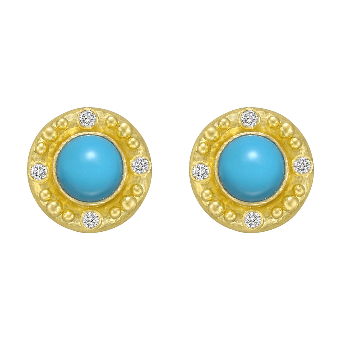 19k Yellow Gold & Turquoise Earrings