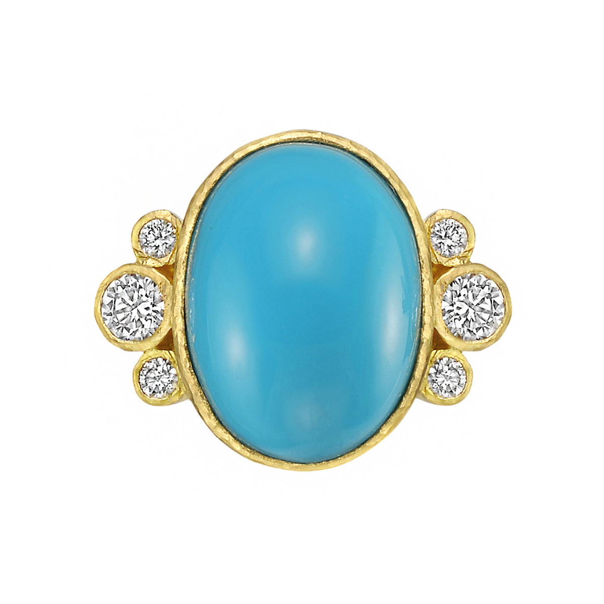 Bezel-Set Turquoise & Diamond Ring