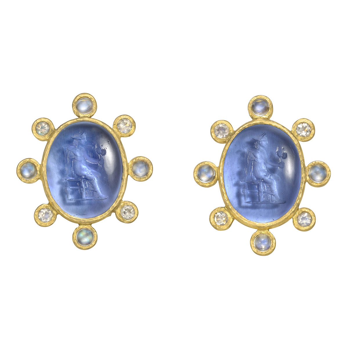 19k Yellow Gold & Venetian Glass Intaglio Earrings