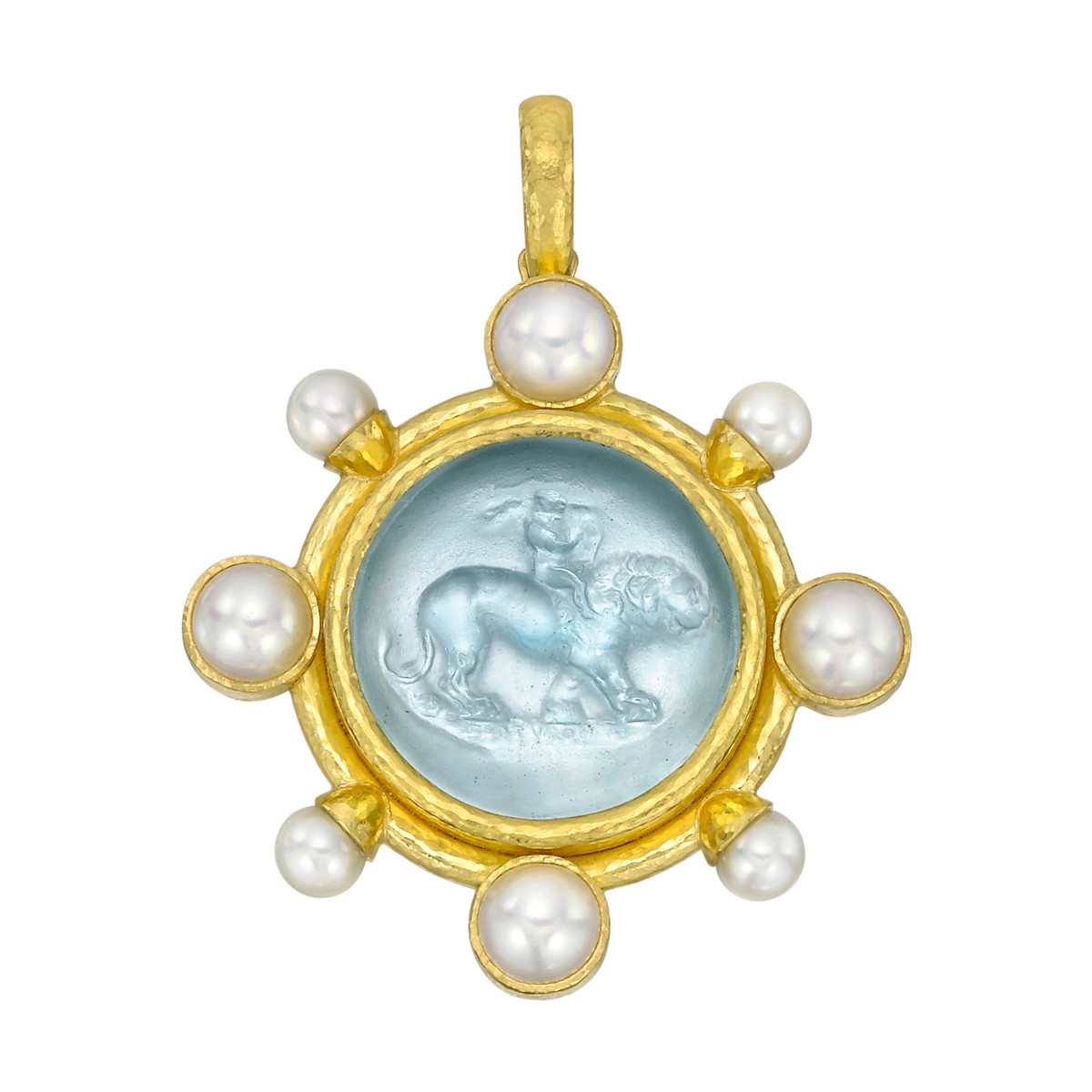 19k Yellow Gold & Venetian Glass Intaglio Pendant