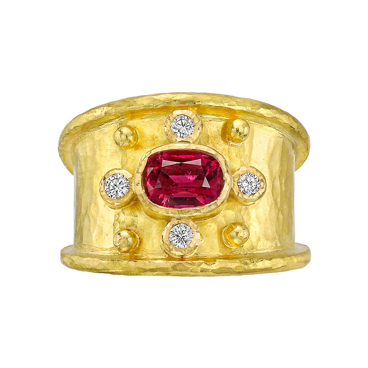 Red Spinel & Diamond Wide Band Ring