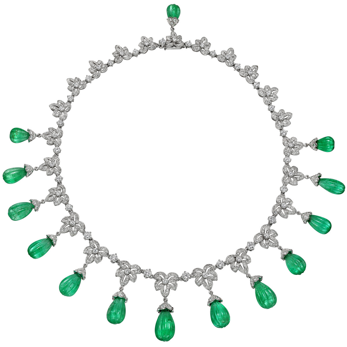 Emerald & Diamond Fringe Necklace