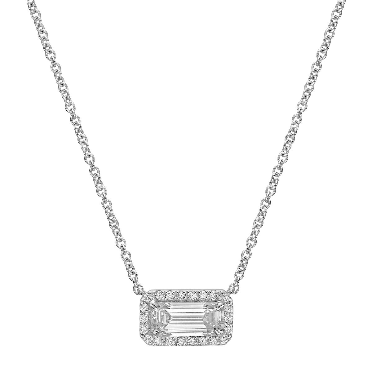 Emerald-Cut Diamond Halo Pendant