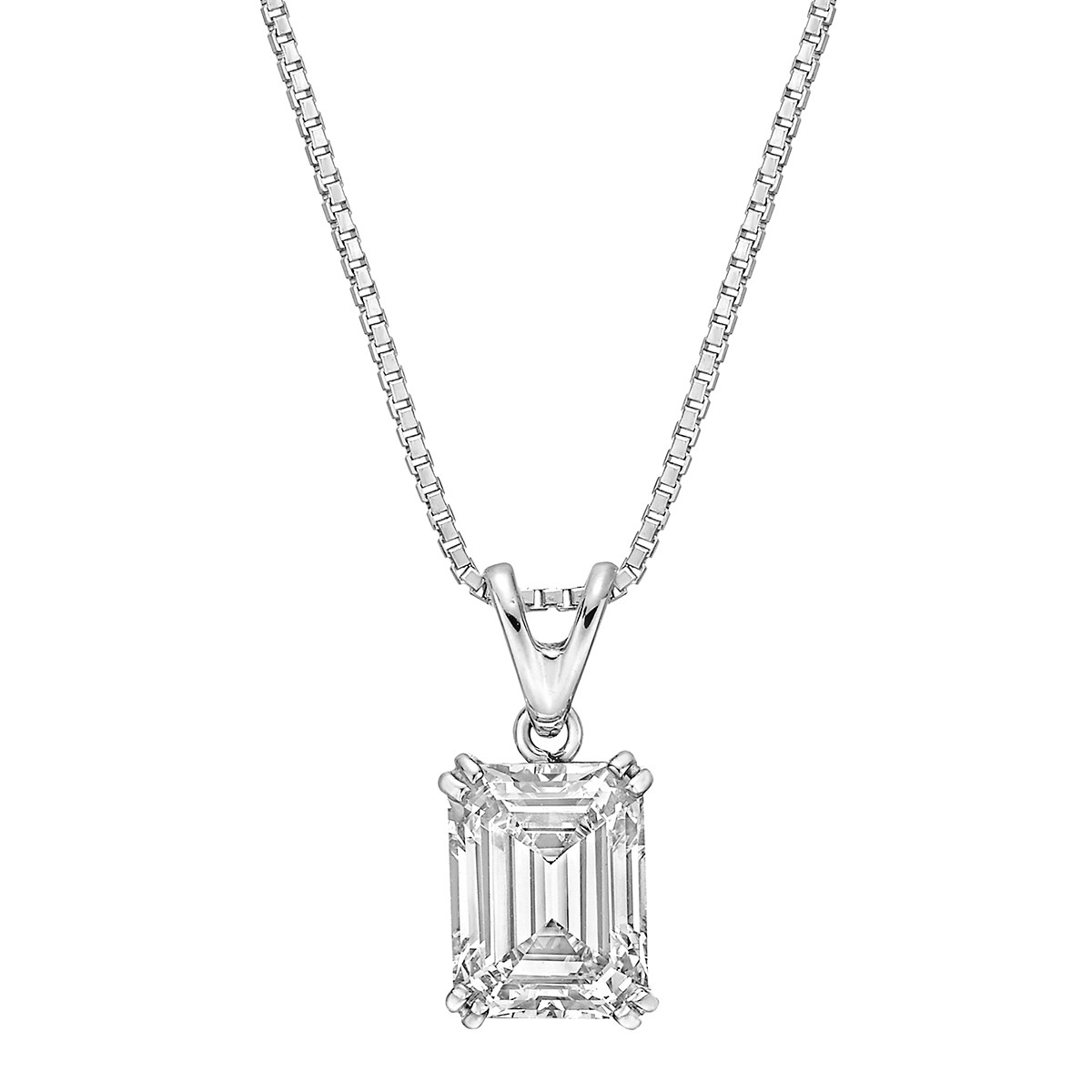 3.14 Carat Emerald-Cut Diamond Solitaire Pendant